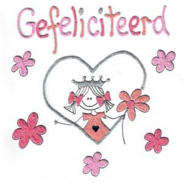 wenskaart gefeliciteerd met roze bloemetjes