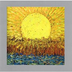 wenskaart schilderij zon met akker