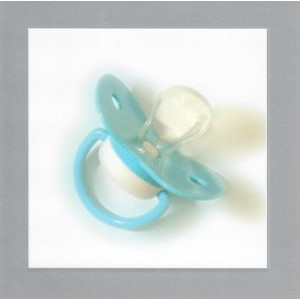 wenskaart geboorte met foto van blauwe fopspeen