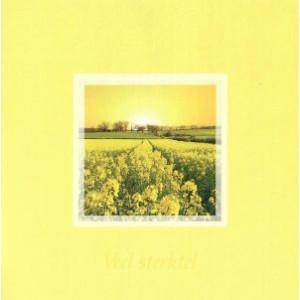 wenskaart heel veel sterkte met foto van bloemen en zon