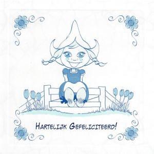delfts blauw wenskaart holalnds meisje met tulpen