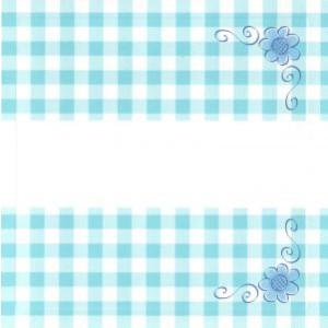 wenskaart geblokt blauw wit