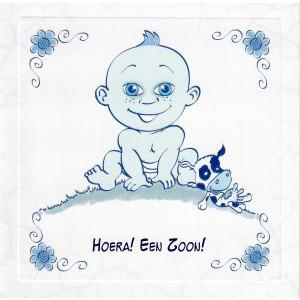 wenskaart delfts blauw baby hoera een zoon