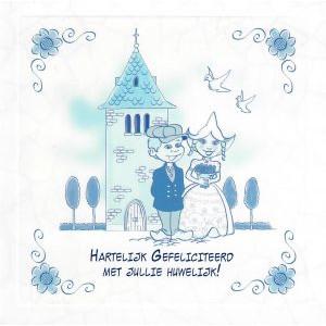 wenskaart delfts blauw voor huwelijk