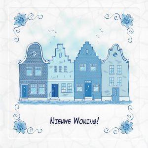 wenskaart delfts blauw voor een nieuwe woning