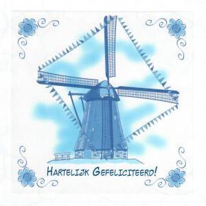 hartelijk gefeliciteerd delfst blauw wenskaart met molen