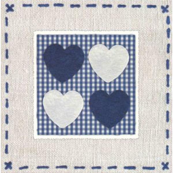 vierkante wenskaart met blauwe en witte hartjes borduur