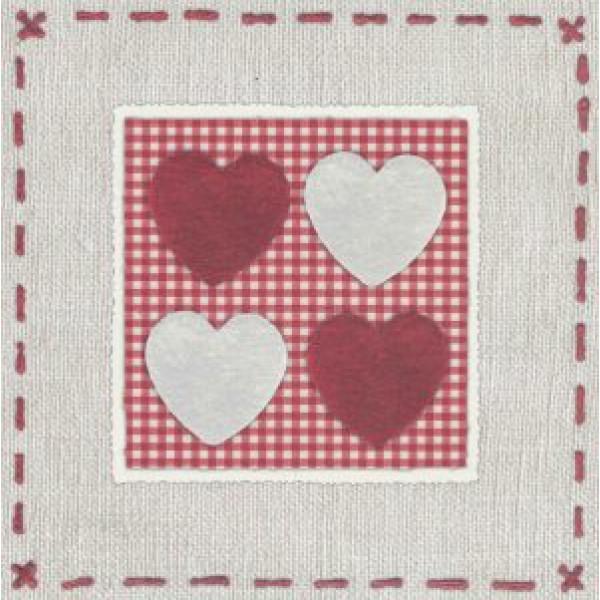 vierkante wenskaart met rode hartjes borduur