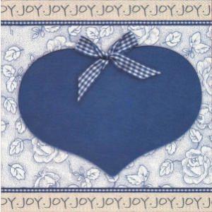 vierkante wenskaart met blauw hart en strik