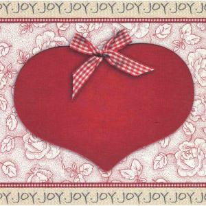 wenskaart joy met groot hart en rode strik