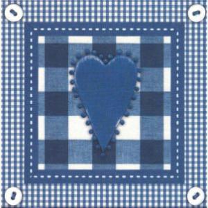 vierkante wenskaarten met blauw hart en ruitjesmotief