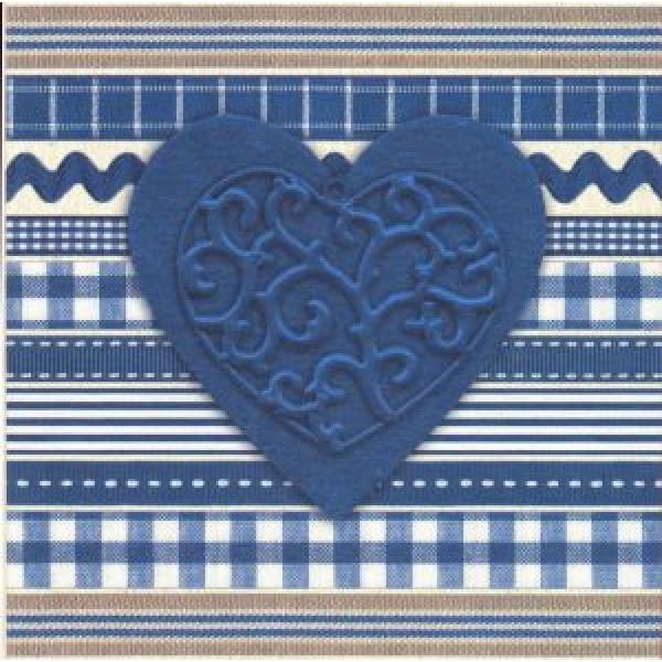 blauw hart op wenskaart met motiefjes op achtergrond