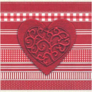 valentijnskaart met groot rood hart en verschillende patronen