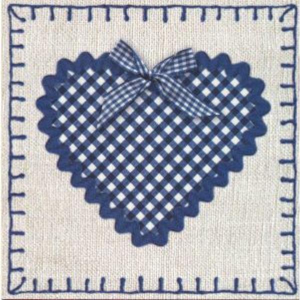 vierkante wenskaarten met geruit hart en blauwe strik