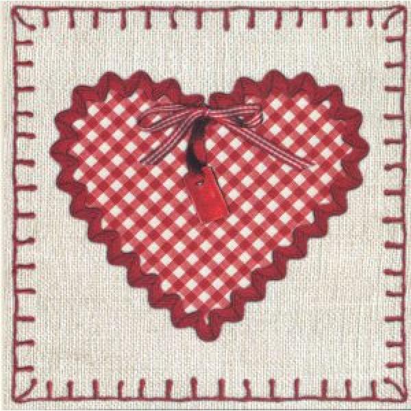 vierkanten wenskaarten bestellen met rood geruit hart en strik