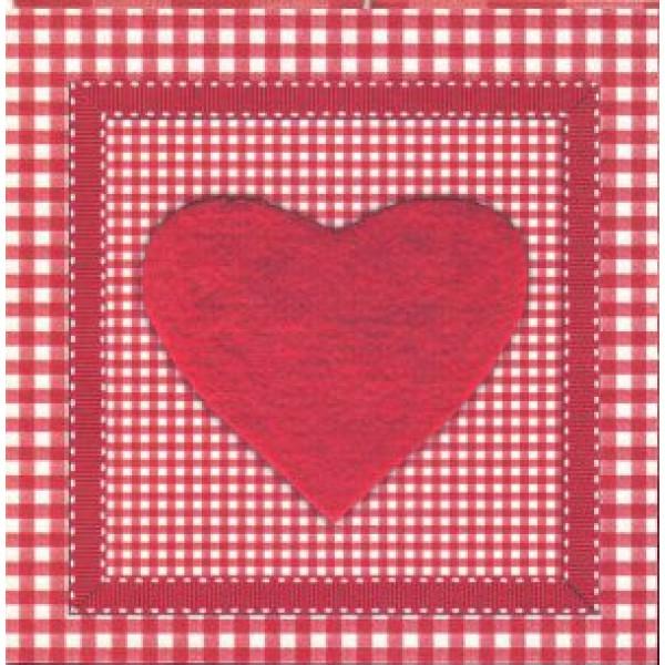 valentijnskaart met groot rood hard en ruitjesmotief