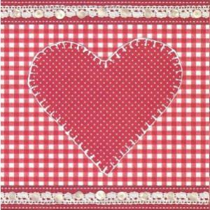 valentijns wenskaart met gestippeld hart en ruitjesmotief