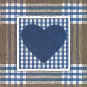 goedkope wenskaart vierkant met blauw hart decoratief