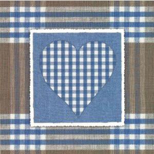 goedkope decoratieve wenskaarten met blauw geruit hart
