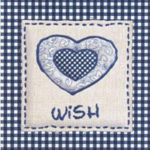 decoratieve wenskaart met blauw hart en tekst wish