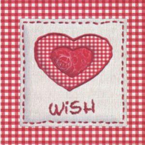 decoratieve wenskaart rood met hart en tekst wish