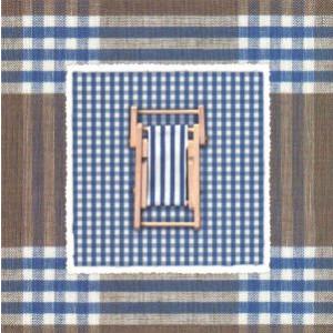 decoratieve wenskaart blauw geruit met strandstoel