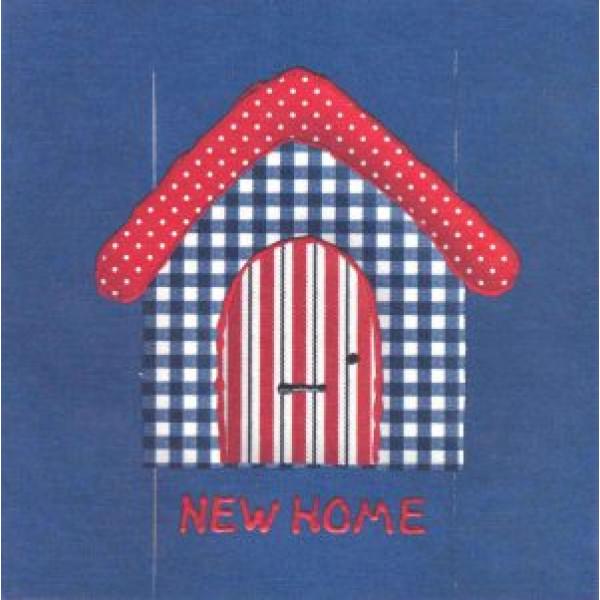 wenskaart verhuizing new home met huisje blauw met rood