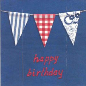 wenskaart happy birthday met vlaggetjes rood en blauw