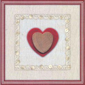 decoratieve wenskaart bruin met rood hart