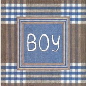 mooie wenskaart Boy blauw geruit