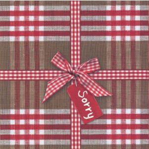 decoratieve wenskaart sorry met strik en rode ruitjes