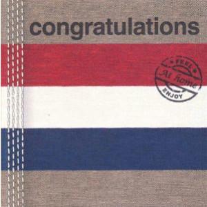 wenskaart at home congratulations met rood wit blauwe vlag