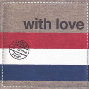wenskaart at home with love rood wit blauw