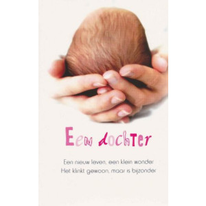 wenskaart een dochter met handen die een baby vasthouden