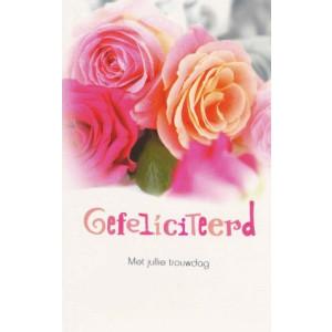 wenskaart gefeliciteerd met jullie trouwdag met roze rozen