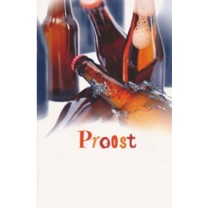 wenskaart proost met flesjes bier