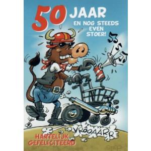 kaartje 50 jaar en nog steeds even stoer koe met rollator
