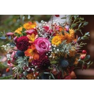 Wenskaart zonder tekst met een mooi boeket met diverse bloemen