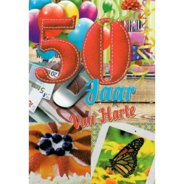 wenskaart 50 jaar van harte