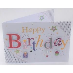 """Wenskaart Laura's Secret 3D felicitatie met de tekst """"happy birthday"""""""