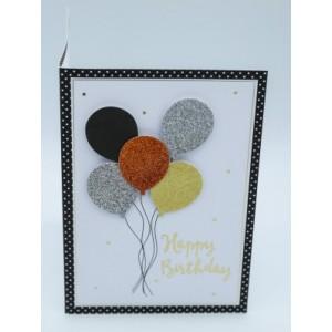 """Wenskaart Laura's Secret 3D felicitatie met de tekst """"happy birthday"""" met kleurige ballonnen"""
