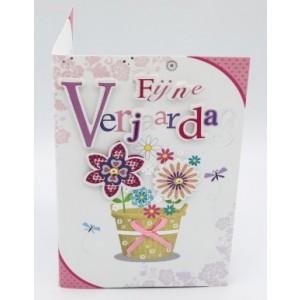 """Wenskaart Laura's Secret 3D felicitatie met de tekst """"fijne verjaardag"""" met de afbeelding van fleurige bloemen in een rieten mand"""