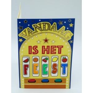"""Wenskaart Laura's Secret 3D felicitatie met de tekst """"vandaag is het feest"""" met de afbeelding van een fruitautomaat"""