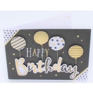 """Wenskaart Laura's Secret 3D felicitatie met de tekst """"happy birthday"""" met ballonnen in goud en zilver"""