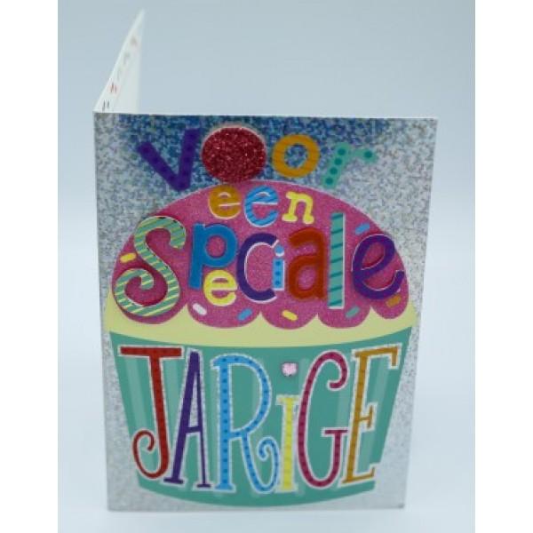 """Wenskaart Laura's Secret 3D felicitatie met de tekst """"voor een speciale jarige"""" in vrolijke letters"""