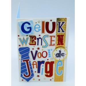 """Wenskaart Laura's Secret 3D felicitatie met de tekst """"gelukwensen voor de jarige"""" en de afbeelding van een stropdas"""