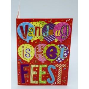 """Wenskaart Laura's Secret 3D felicitatie met de tekst """"vandaag is het feest"""" in vrolijke letters en de afbeelding van kleurige ballonnen"""