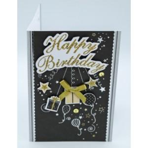 """Wenskaart Laura's Secret 3D felicitatie met de tekst """"happy birthday"""" in gouden letters en afbeeldingen van cadeautjes, ballonnen en sterrretjes"""