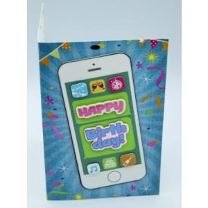 """Wenskaart Laura's Secret 3D felicitatie met de tekst """"happy birthday"""" met de afbeelding van een mobieltje"""