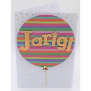"""Wenskaart Laura's Secret 3D felicitatie met de tekst """"jarig!"""" met een vrolijk gekleurde ballon"""